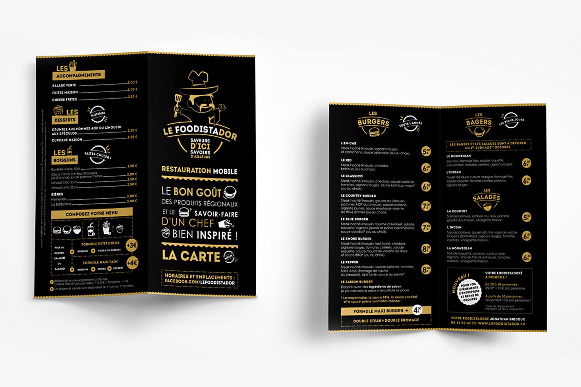 FOODISTADOR menu flyer